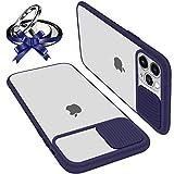 Funda Con Tapa Deslizable Para Cámara Compatible Con iPhone 12 Pro Max 6.7' Funda Protectora Antigolpe Carcasa PC y Silicona TPU Con Soporte de Anillo (Soporte El Montaje De Coche Magnético) Azul