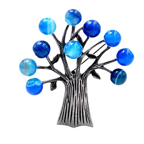 YAMAO Womens Gift Pins Badge,Stone Tree Brooches for Women Elegant Brooch Pin Suit Accessories
