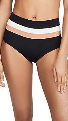 LSpace Women's Portia Bikini Bottoms, Black/Cream/Chestnut, Small