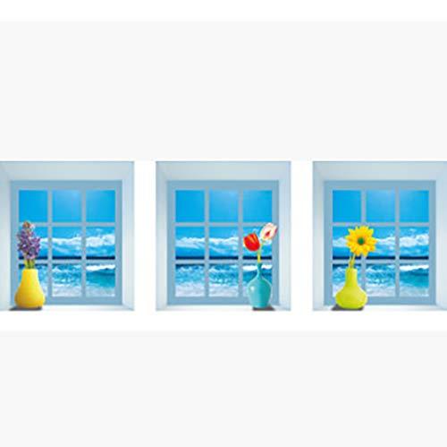 YJX3d Muursticker Kamer Decoratieve Muur Aangebracht met Een Set van 3 Vensterbank Vaas Stickers