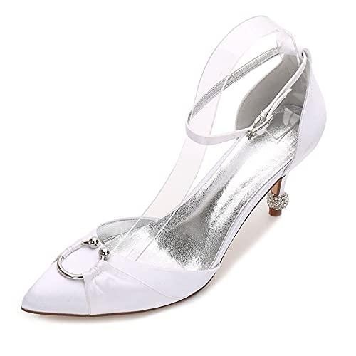 MNVOA Zapatos De Recepción De Boda De Mujer Sandalias De Tacón Bajo Zapatos De Novia De Boda De Satén,Blanco,37 EU