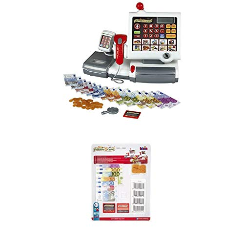 Theo Klein 9356 - Kassenstation mit Folientastatur + Zubehörset für Scannerkasse, Blister, Spielzeug