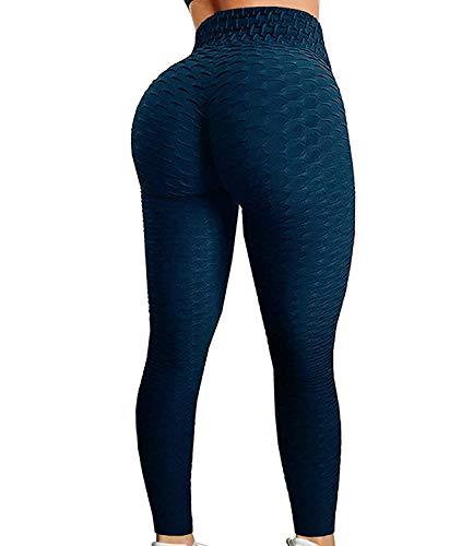 FITTOO Women's High Waist Yoga Pants Tummy Control Scrunched Booty Leggings Workout Running Butt Lift Textured Tights Peach Butt Navy(XL)