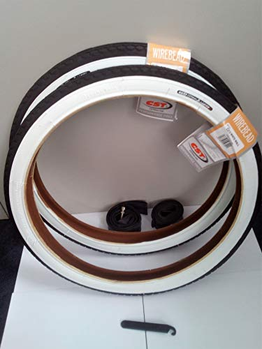 CST 2X Weißwand Reifen 20 Zoll 20 x 1.75 | 47-406 (schwarz/weiß + 2 Schläuche DV Ventil + 1 x Matrix Reifenheber