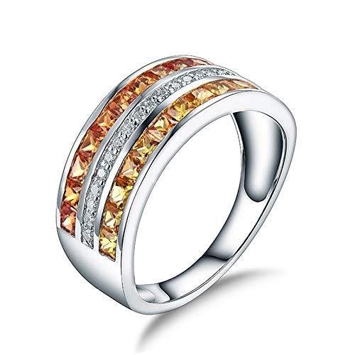 Socoz Anillos de boda de oro blanco de 18 quilates, para mujer, de oro blanco Oro Bianco