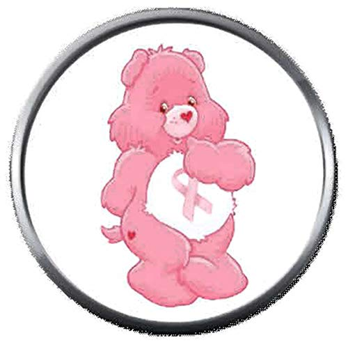 Care Bear Courage Strength Breast Cancer Pink Ribbon 18MM-20MM Snap Jewelry Charm