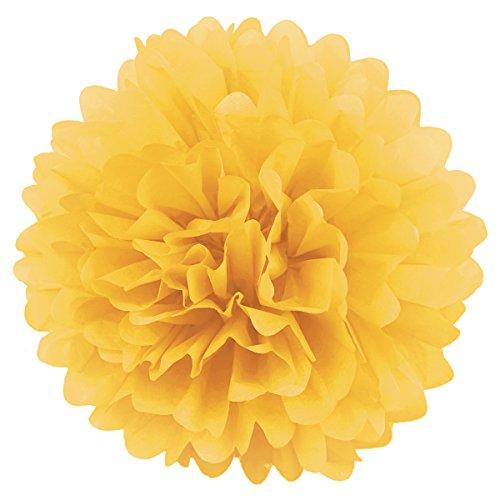 Simplydeko Pompoms 10er Set   Deko Pom-Poms aus Papier   Papierkugel zur Hochzeit oder Party   Papierblumen als Hochzeitsdeko   Seidenpapier Pompons   Sonnengelb   30 cm