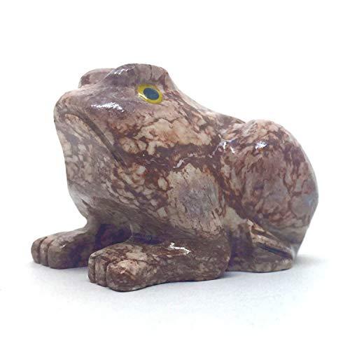 Nelson Creations, LLC Frog Natural Soapstone esculpida à mão com pingente de animal, estatueta esculpida em pedra, 4,5 cm
