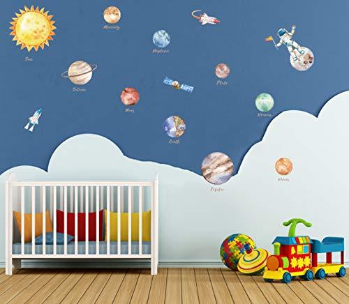 KAIRNE Planeten Sonnensystem Wandsticker, Weltraum Wandtattoo Kinderzimmer, Raketen Aufkleber Wand,Astronaut Wall Sticker,Kinder Wandaufkleber Wanddeko für Klassenzimmer Wohnzimmer Jungen Schlafzimmer