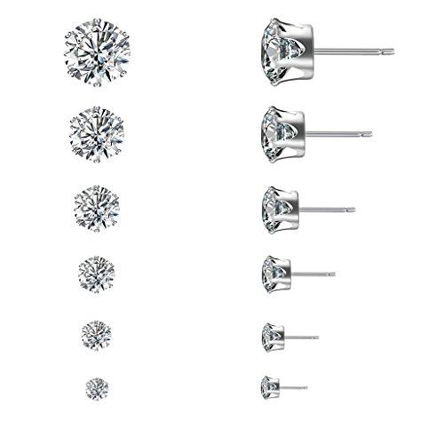 Team99 6 Pair Women Rhinestone Zircon Stainless Steel Ear Stud Ring Earrings Jewelry Set
