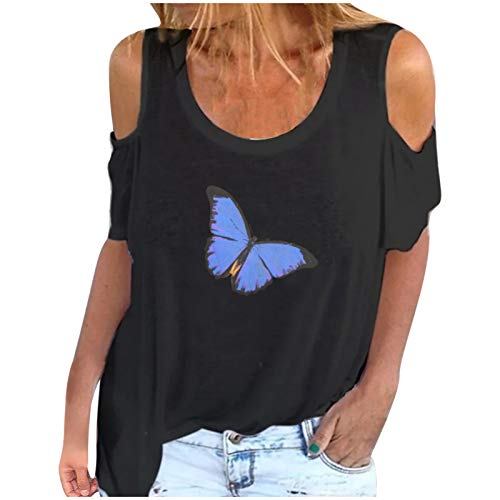Janly Clearance Sale Camiseta para mujer, cuello en O, sin tirantes, informal, de manga corta, para verano, vacaciones