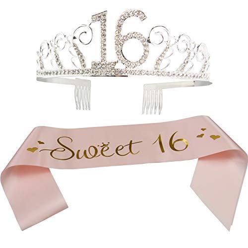 Schärpe und Diadem zum 16. Geburtstag, Satin-Schärpe und Kristall-Tiara zum 16. Geburtstag, Party-Zubehör und Dekorationen (Schärpe + Diadea) / Apricot