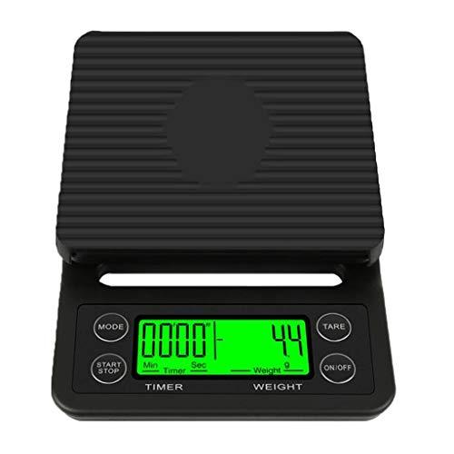 WZ Báscula Café con Temporizador Multifunción Balanzas Alimentarias Digitales para Cocina Función Tara para Cocinar Hornear Precisión 0,1 Gramos Pantalla LCD (Color : Black, Size : 3kg/0.1g)