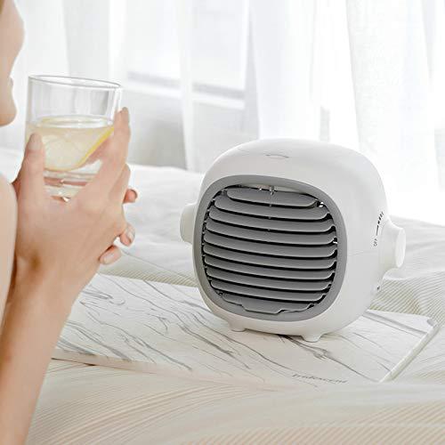 Tragbare Klimaanlage, PersöNlicher LüFter Wiederaufladbarer USB-LüFter Mit 3 Geschwindigkeiten, 2000 Mah BatteriekapazitäT, Freisprech-LüFter LüFter FüR Den Sommer In InnenräUmen,Weiß