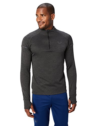 Amazon Brand - Peak Velocity Men's Thermal Waffle 'Build Your Own' Athletic-Fit Run Tops (Hoodie, Quarter-Zip), black heather, X-Large