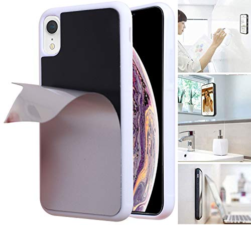 Anti Gravity Phone Case for iPhone XR with Dust Proof Film, Magic Nano Hands Free Stick to Wall Anti-Gravity Case Black Anti Gravity Case for iPhone XR (White)