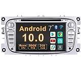 Autoradio Android 10.0 Coche Radio 7 Pulgadas 2 DIN GPS Compatible con Ford Mondeo Focus Kuga Galaxy con Navegación CD Reproductor de DVD Video Bluetooth Pantalla Táctil WiFi 80GB ROM