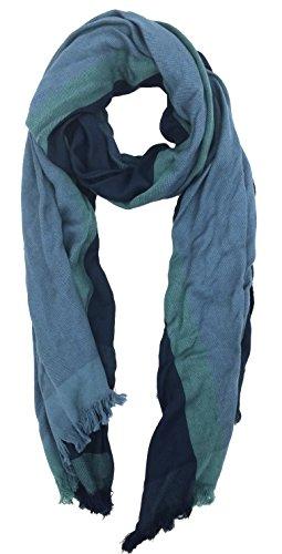 Tahari by Elie Tahari Color Block Yarn Dye Scarf 100% Bamboo, Blue, One Size