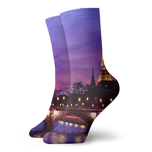 REordernow Chaussettes de sport pour hommes Crew Socks Eiffel Tower at Night Vintage Womens Dress Stocking Decoration Sock Clearance for Boys