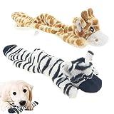 Qune Juego de 2 juguetes para perros chirriantes, duraderos sin relleno, juguete de peluche interactivo para masticar cachorros, juguetes para perros pequeños, medianos y grandes