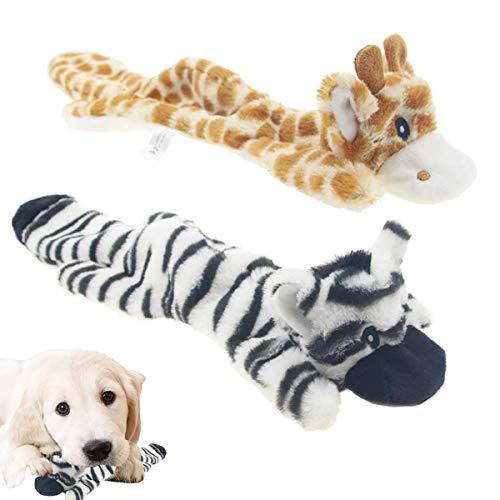 Qune Juego de 2 juguetes para perros chirriantes, duraderos sin relleno, juguete de peluche interactivo para masticar cachorros, juguetes para perros pequeos, medianos y grandes