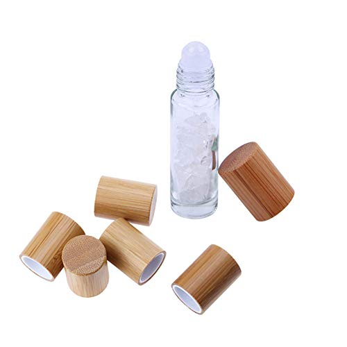 1 Pcs 10ml Gemstone roller Bottles With 5 Extra Bamboo Lids,Essential Oil Roller Bottles With Crystal Tops&Healing Chips Roll On Glass Bottles For Oils Blends Sample And DIY (Clear Quartz)