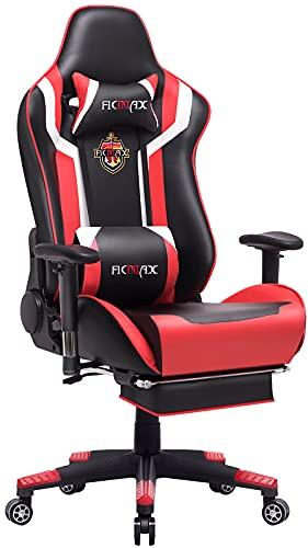 Ficmax Silla ergonómica para Juegos Silla para computadora con Masaje de Soporte Lumbar, sillas de Juego para E-Sports para Jugador, Silla de Oficina con reposapiés y para reposacabezas