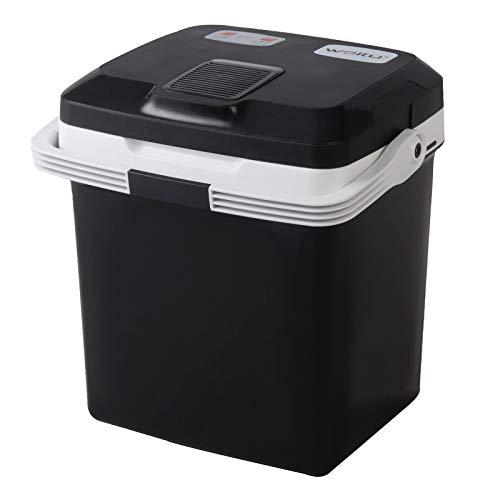 WOLTU KUE002sz Kühlbox, Tragbarer Mini Kühlschrank, 26 Liter Isolierbox zum Warmhalten, Kühlen für Auto, Wohnmobil, Van, Fahrzeug, Boot für Camping, Reisen, Angeln - DC 12V & AC 220V Schwarz