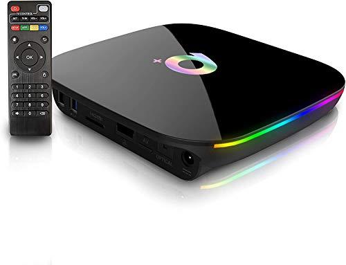 GECENinov Smart TV Box, Android TV Box 9.0, 4 GB de RAM, 64 GB de ROM, 3D, 6 K a 30 fps, alta resolución H6 Quad-Core Cortex-A53, CPU de 2,4 GHz, WiFi H.265.