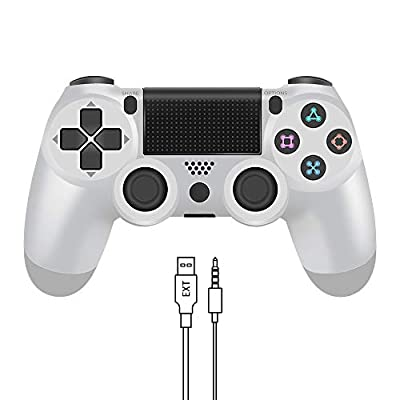 YCCTEAM Wireless Controller for PS4 - Video Game Precision Control Gamepad Joystick for Playstation 4/Pro/Slim, NOT OEM (White)