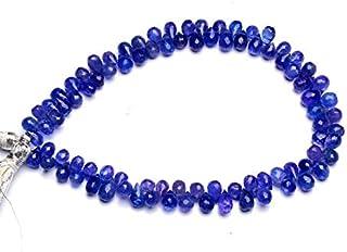 Jaipur Gems Mart Piedra Preciosa de tanzanita Natural 7x5 mm Aprox. Briolettes con Forma de lágrima facetada de 9 Pulgadas...