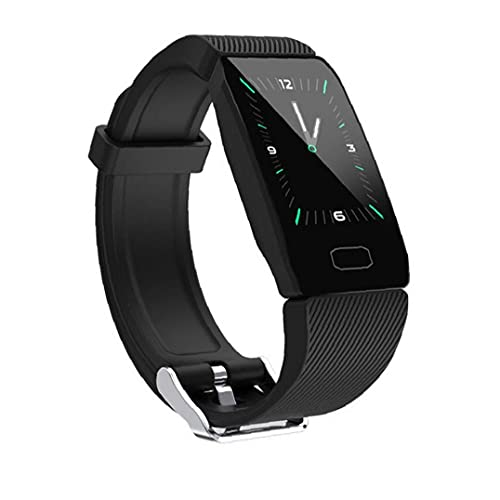 FeelMeet Prueba de medidor Inteligente Reloj Inteligente Reloj Pulsera Pulsera rastreador de Ejercicios de Ritmo cardíaco Caolorie Q1 Deportes Negro Salud
