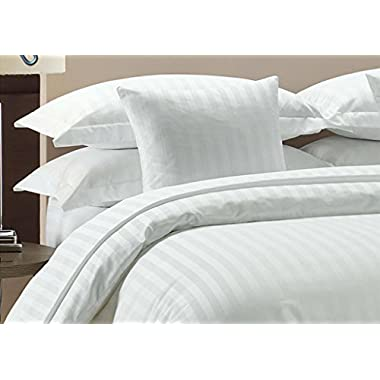 Vedanta Home Collection Hotel Quality 400-Thread-Count Egyptian Cotton King Size 4pc Sheet Set With 21 Inch Deep Pocket White Striped
