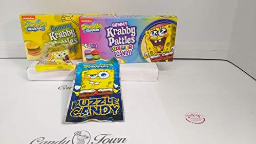 Candy Town - Cesta de dulces con diseño de Bob Esponja americana de Candy Town | Krabby Patties, Puzzle Candy - 4 artículos de regalo - CT14