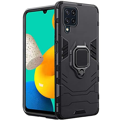 TheGiftKart Tough Armor Samsung Galaxy M32 4G Bumper Back Case Cover | Ring Holder & Kickstand in-Built | 360 Degree Protection Back Case Cover for Samsung Galaxy M32 4G (Carbon Black)