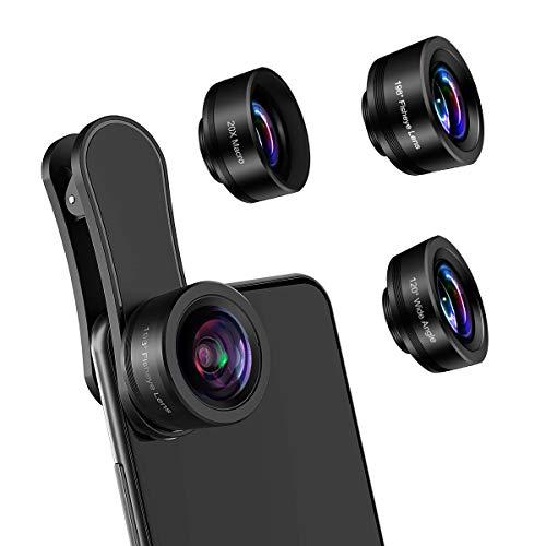 AFAITH Lente de Cámara para Teléfono, 3 en 1 Lentes para Moviles Kit, Lente Ojo de Pez de 198° , Gran Angular de 120 °, Lente Macro 20X Clip On Objetivo para Móvil iPhone / Android Smartphone