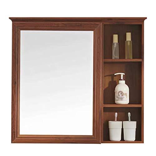 Specchio da parete HD Armadietto a specchio per bagno con ripiani Decorazioni per la casa Armadietto a specchio Specchio per ritratto in vetro rettangolare per vanità, Camera da letto (70 x 73 cm) D