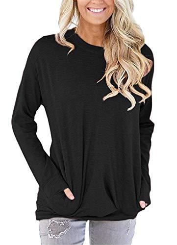 onlypuff Taschen-Hemden für Damen, lässig, lockere Passform, Tunika, Top, Baggy, bequeme Bluse - - X-Large