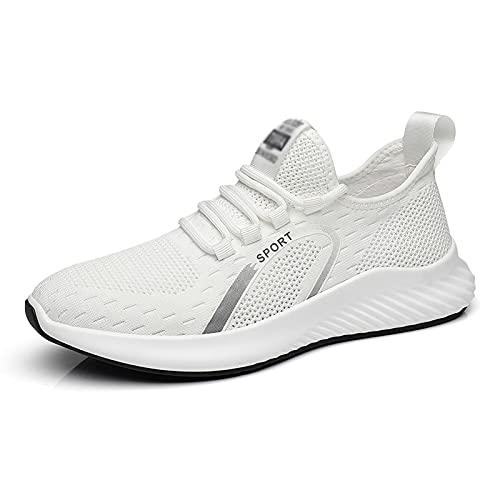 Zapatos para Caminar Ligeros y Transpirables para Hombre Entrenadores para Correr Zapatillas Deportivas para Correr Fitness Tenis Informal Zapatos al Aire Libre White- 6.5UK/40.5EU/7.5US