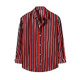 Berimaterry Camisas Manga Larga Hombre con Estampado de Rayas Camisas Hombres Casual holgadas cómodos Camisas Hombres de Manga Larga Señores Solapa Blusa Hombre Originales Ropa Hombre Baratos otoño