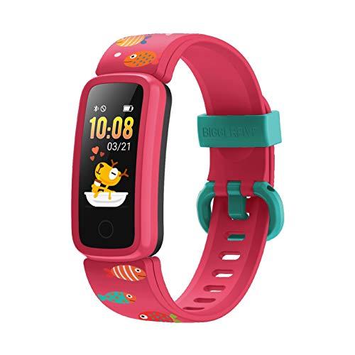 BIGGERFIVE Vigor Montre Connectée Enfant pour Fille Garcon Femmes, Bracelet Connecté Cardio Podometre Smartwatch, Etanche IP68 Sport Fitness Tracker Activité Montre Intelligente avec Réveil Vibrant