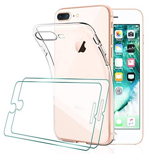 [2 Pack] KEEPXYZ Protector Pantalla para iPhone 7 Plus, iPhone 8 Plus Cristal Templado + Funda para iPhone 7 8 Plus Silicona Transparente, Suave TPU Case Carcasa + Vidrio Templado para iPhone 7+ 8+