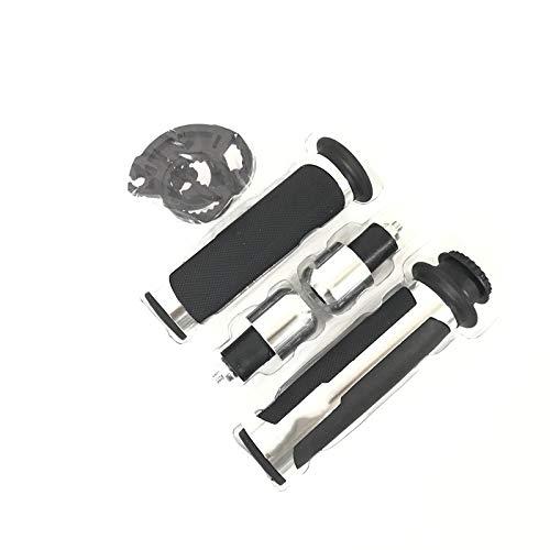 Puños Motocicleta 7/8'Caps 22 mm Universal Carretera y regatas CNC de Aluminio para Barracuda Manillar de la Motocicleta/apretones de Manillar para Z800 / E Versión Moto Manillar (Color : Silver)