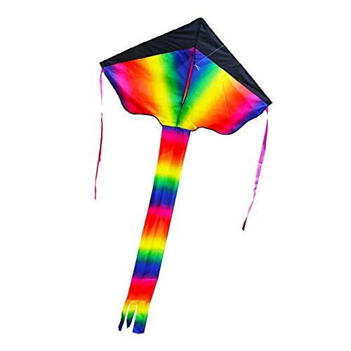 Großer Rainbow Kinder-Drachen - Einleiner Flugdrachen für Kinder mit langem Schwanz