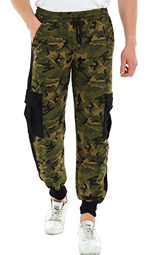Raff&Taff Herren Sporthose Camouflage Hose Freizeithose Yogahose Sweathose Fußballhose Jogginghose Cargo Sporthose (Woodland, 4XL)