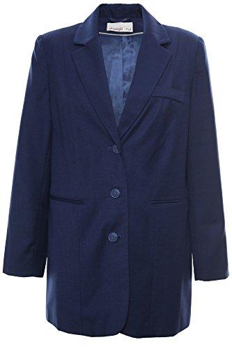sheego Blazer Longblazer Gehrock Jacke Damen Viskose Plusgröße Kurzgröße, Farbe:dunkelblau;Damengrößen:21