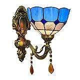 DALUXE Tiffany Interior Apliques 8 Pulgadas lámpara británica Pared Creativa Luces Modernas Espejo de baño Cristal Cristal...