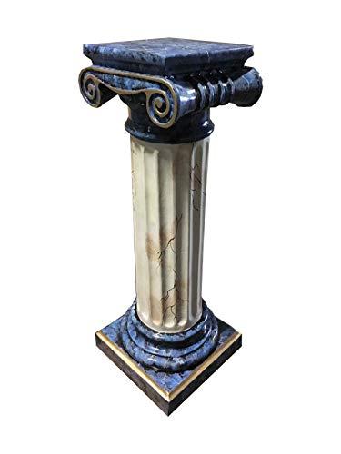 Antikes Wohndesign Griechische Blumensäule Blumenständer Marmorsäule Säule Standsäule Marmor Blau Gold
