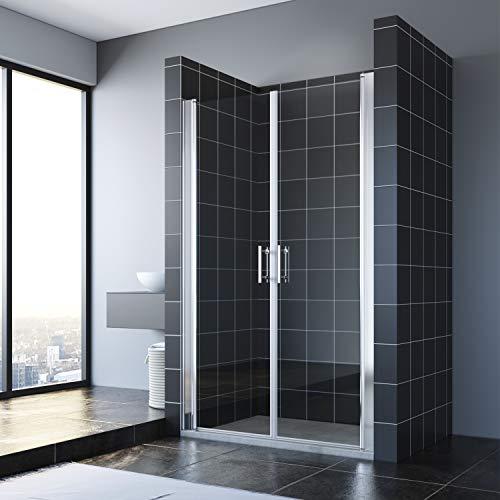 SONNI Duschtür 120 cm Nischentür Pendeltür Dusche Höhe: 195 cm Duschabtrennung Duschtür Doppel Duschwand