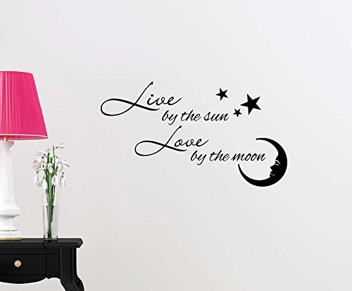 Simple Expressions Arts Wall Vinyl Decal Live by The Sun Love by The Moon Ocean Cute Inspirational Family Love Vinyl Quote Saying Wall Art Lettering Sign Room Decor